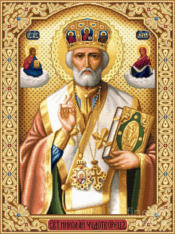 Saint Nicholas Orthodox Icon Needlework Cross Stitch Gobelin Tapestry - Textile - Saint Nicholas by Stoyanka Ivanova