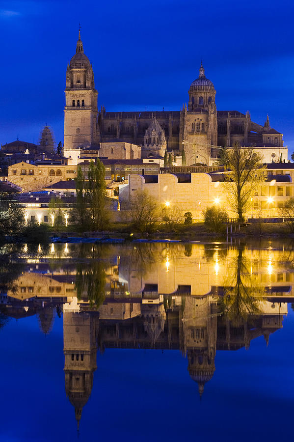 Ancient; Architecture; Art; Blue; Bridge; Building; Church; City; Construction; Europe; Gothic; Historic; Medieval; Night; Old; Place; Religion; Religious; Sky; Stone; Street; Temple; Tourism; Tourist; Tower; Travel; Window; World Photograph - Salamanca by Andre Goncalves