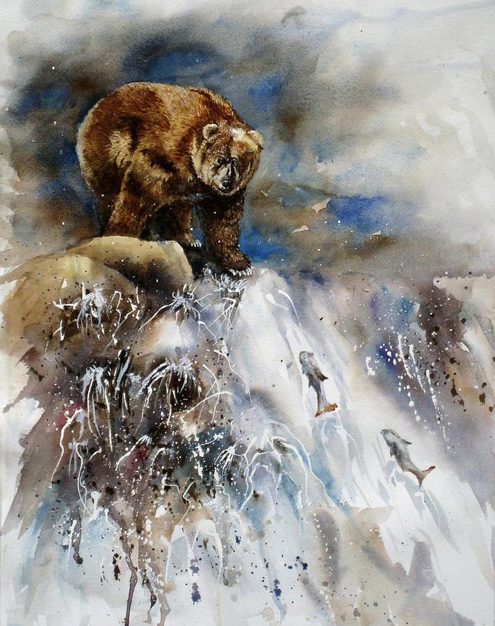 Salmon Painting - Salmon Run by Mary McCullah