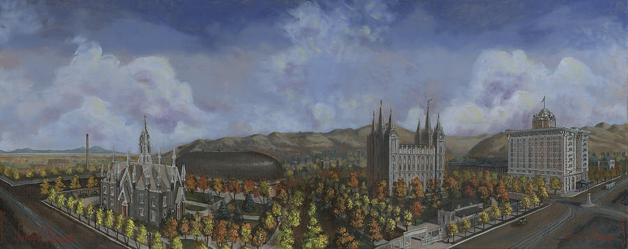 Temple Painting - Salt Lake City Temple Square Nineteen Twelve  by Jeff Brimley