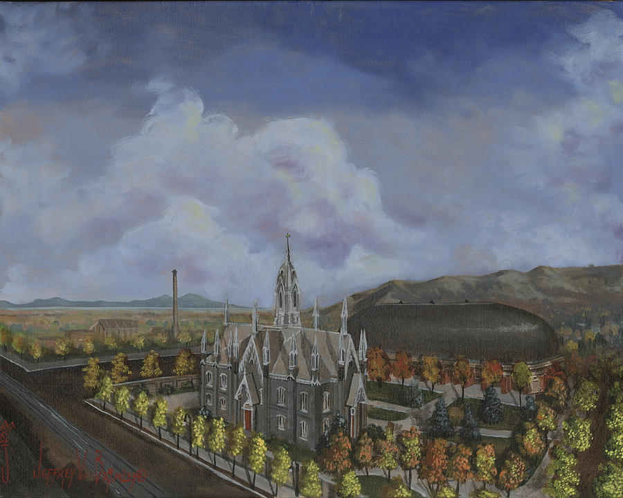Temple Painting - Salt Lake City Temple Square Nineteen Twelve Left Panel by Jeff Brimley