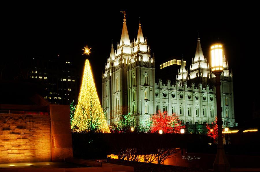Temple Lights Photography Photograph - Salt Lake Temple Christmas Tree by La Rae  Roberts