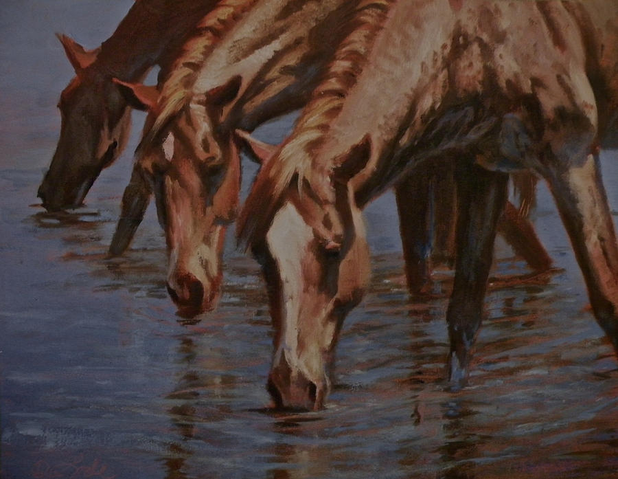 Horses Painting - Salt River Redheads by Mia DeLode