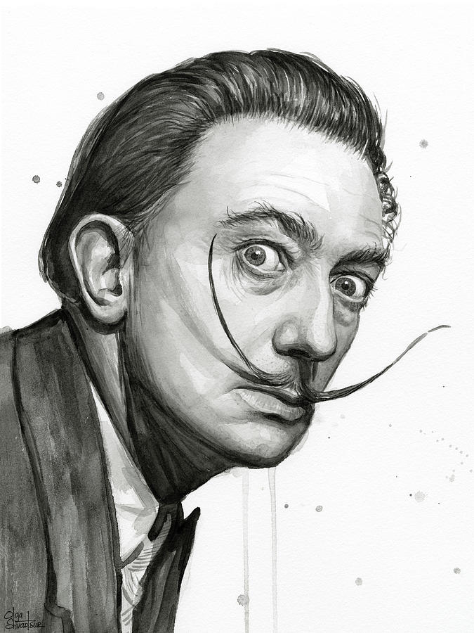 salvador dali portrait black and white watercolor painting