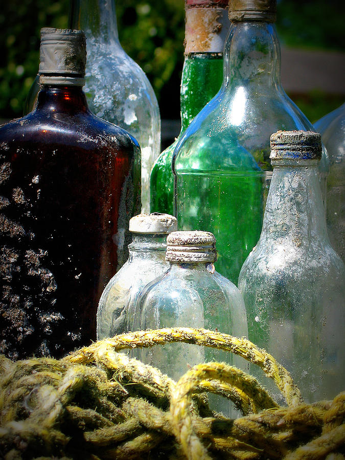 Bottles Photograph - Salvaged From The Sea I by Mg Blackstock