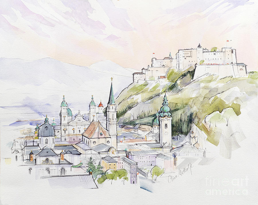 City; Cityscape; Fortress; Mozart Painting - Salzburg Sunrise  by Clive Metcalfe