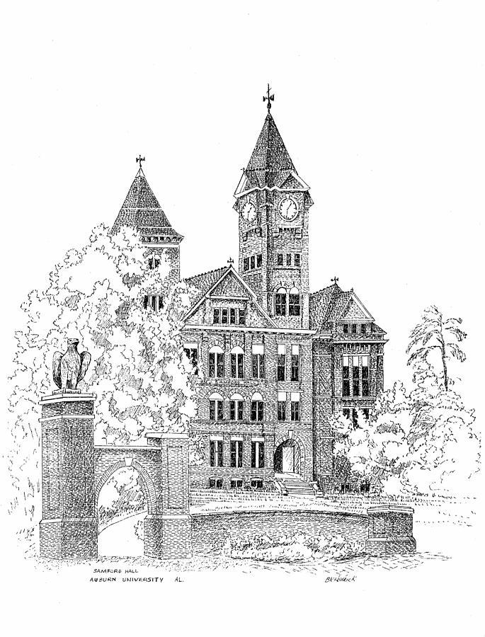 Samford Hall Drawing - Samford Hall by Barney Hedrick