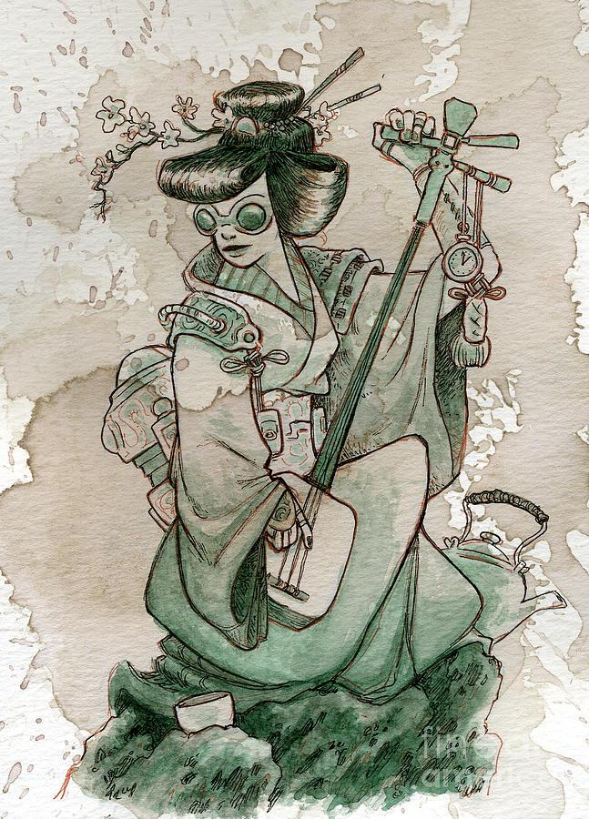 Steampunk Painting - Samisen by Brian Kesinger