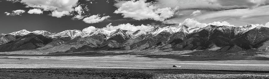 San De Cristo Mountains Panorama In Black And White Photograph
