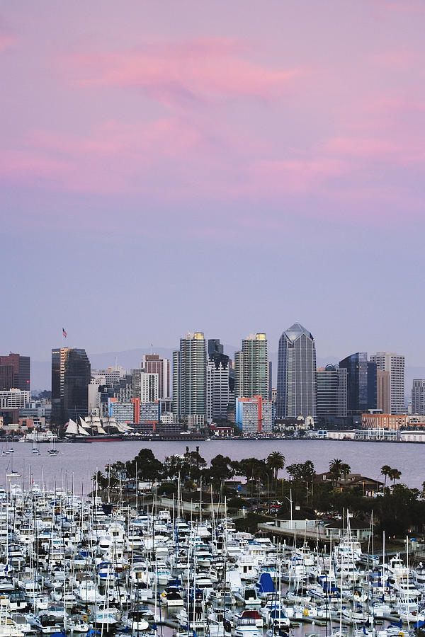 Architecture Photograph - San Diego Skyline And Marina At Dusk by Jeremy Woodhouse