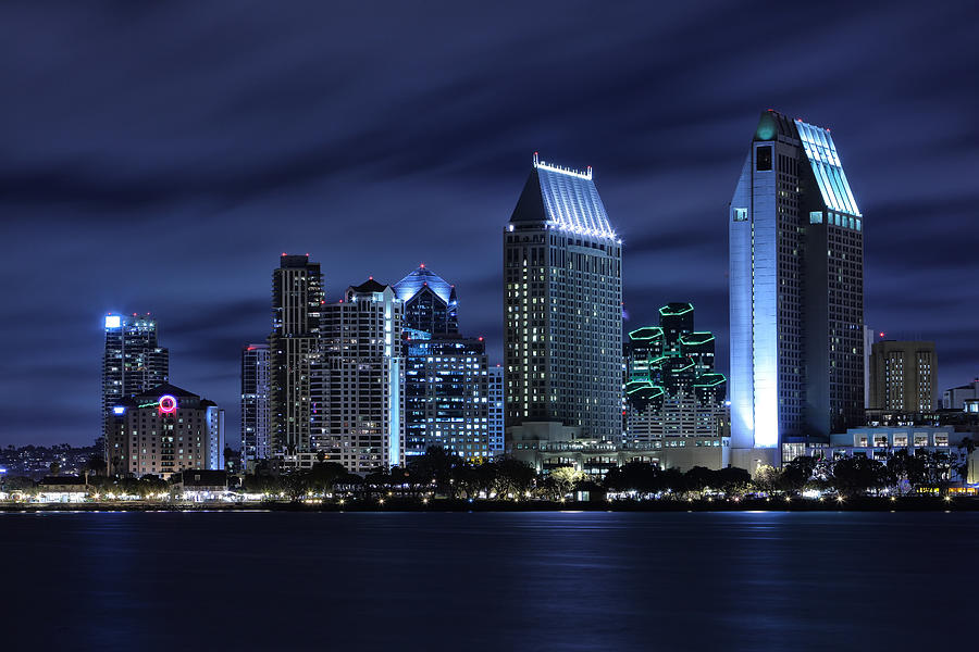 San Diego Photograph - San Diego Skyline At Night by Larry Marshall