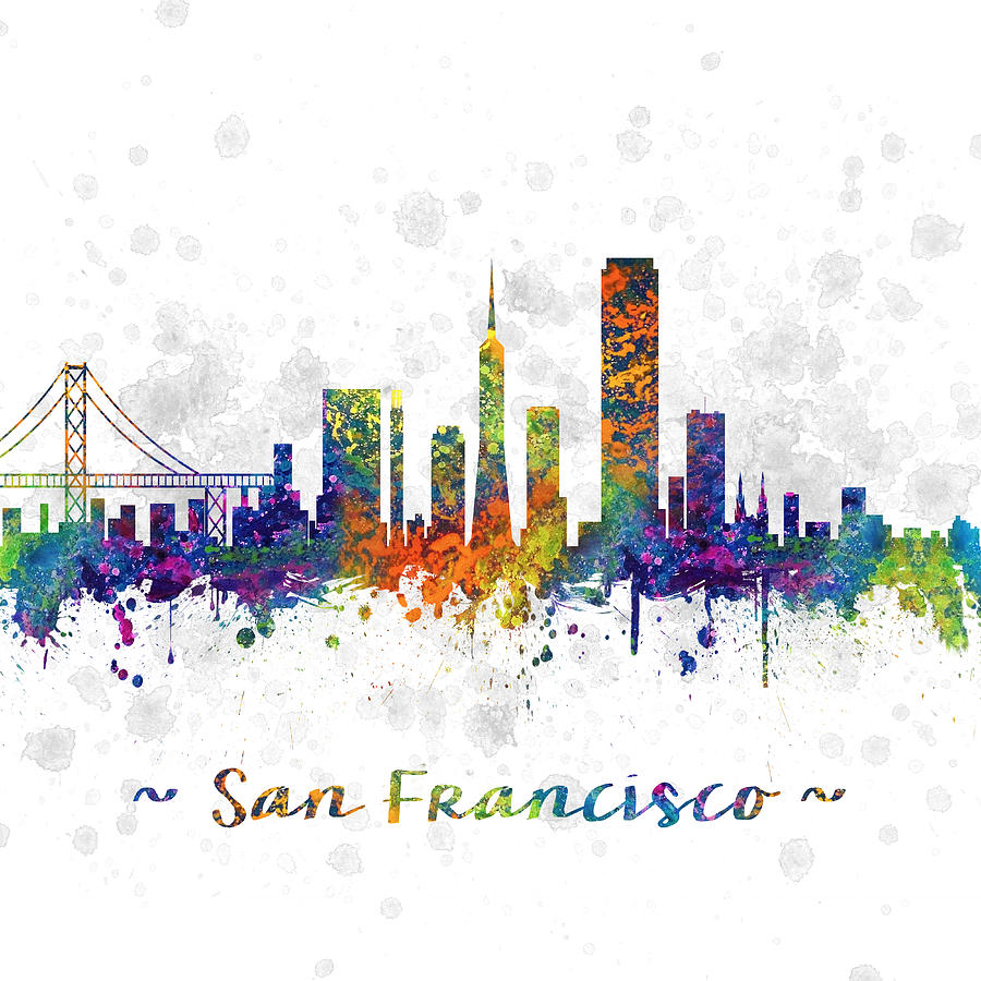 San Francisco California Skyline Color 03sq Drawing By