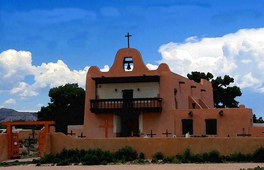 San Ildefonso Pueblo New Mexico Painting - San Ildefonso Pueblo by David Lee Thompson