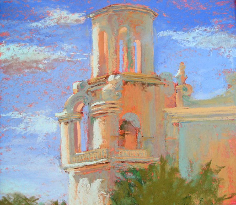 San Xavier Pastel - San Xavier Mission Tucson by Sandra Ortega
