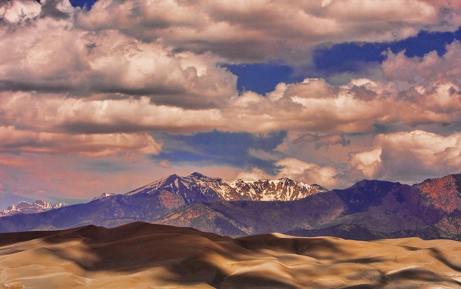 Sand Dunes - Mountains - Snow- Clouds And Shadows Photograph