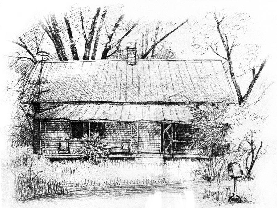 Sandersville Road Farmhouse Drawing By Peter Muzyka