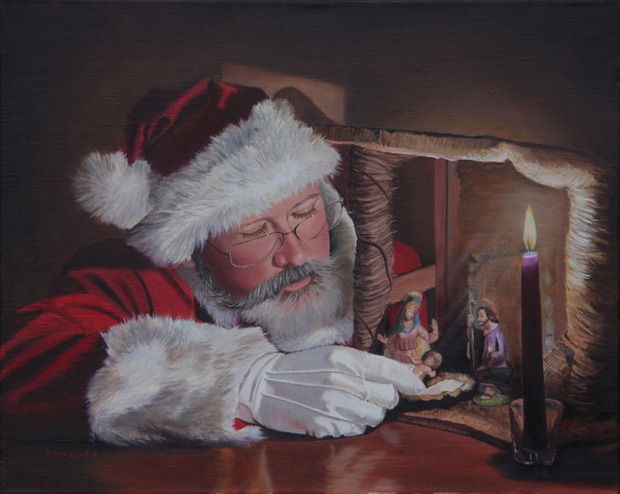 Santa at the nativity painting by cecilia brendel