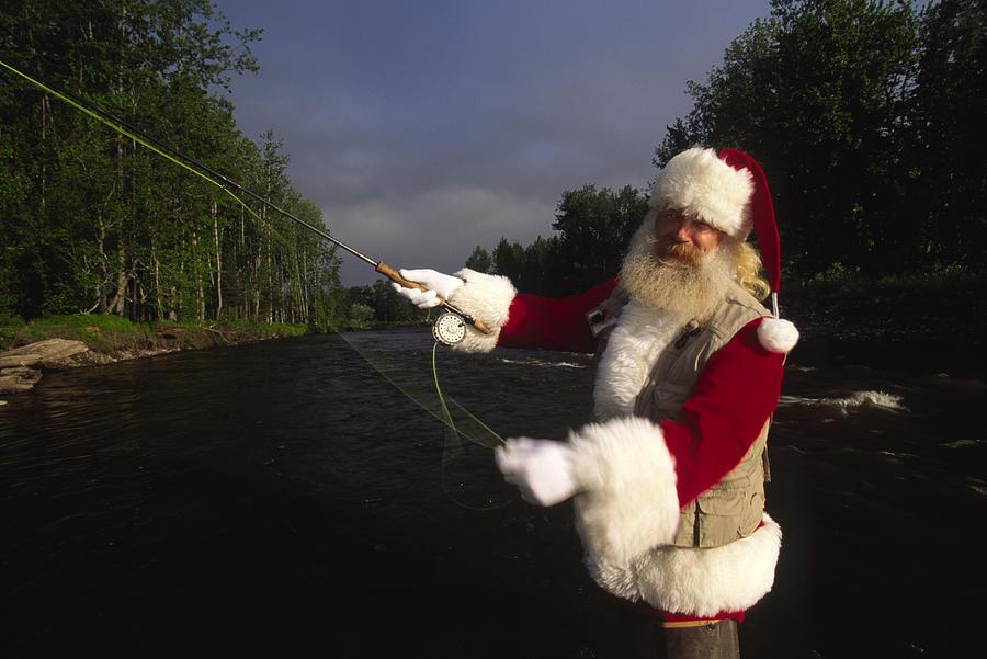 Santa Claus Fly Fishing Photograph