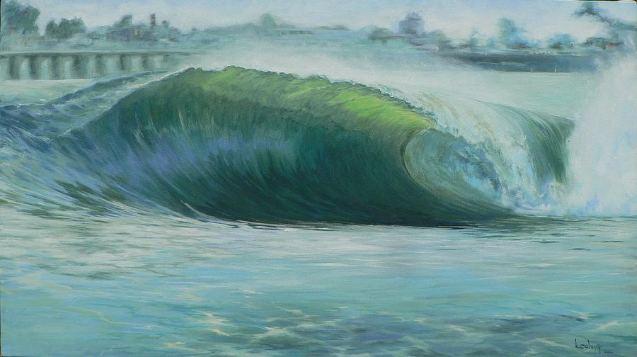Wave Painting - Santa Cruz Green by Kathryn Colvig