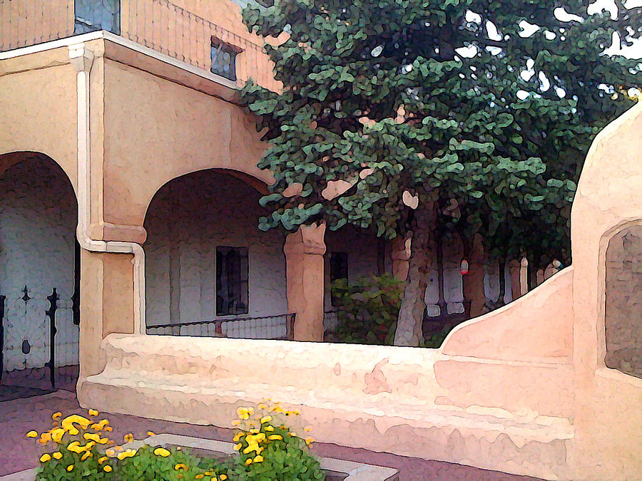 Santa Fe Photograph - Santa Fe Church Courtyard by Charlie Spear