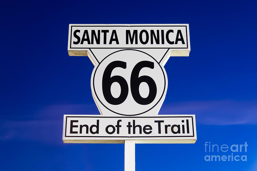 California Photograph - Santa Monica Route 66 Sign by Paul Velgos