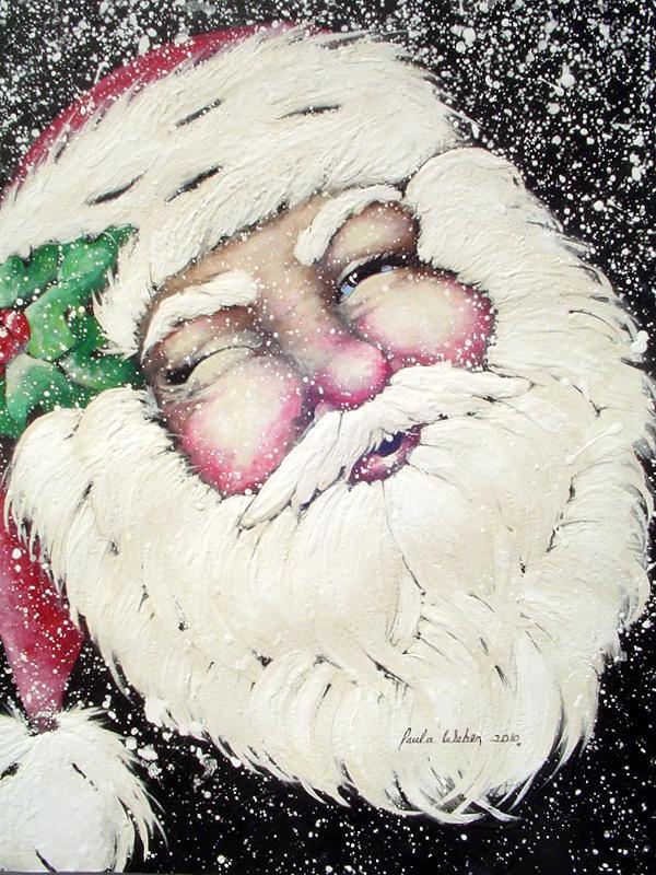 Christmas Card Santa Clause Mixed Media - Santa by Paula Weber