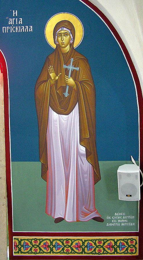 Byzantine Icon Painting - Santa Priscilla by Nestor Patialiakaks