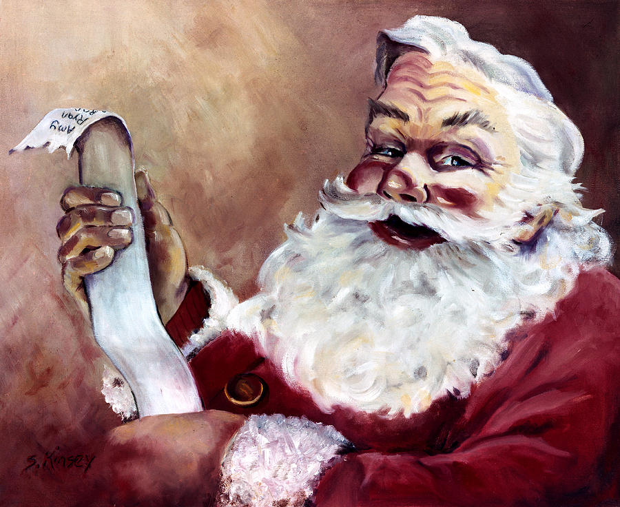 Santa Painting - Santa With A List by Sheila Kinsey