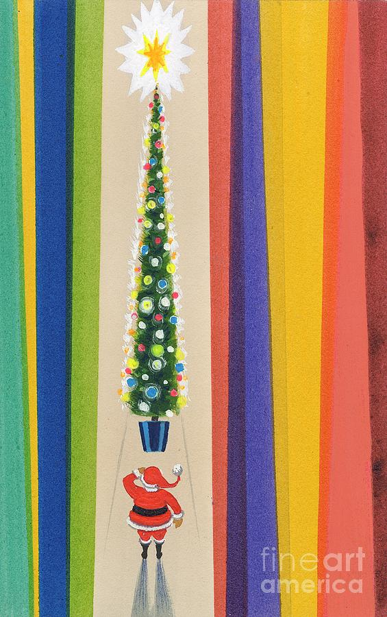 Father Christmas; Santa Claus; Decorations; Decorated; Tall; Star; Baubles; Colourful; Stripes; Seasonal; Naive Painting - Santas Christmas Tree by Stanley Cooke