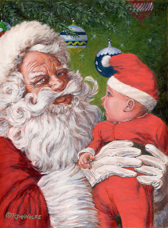 Santa Claus Painting - Santas Little Helper by Richard De Wolfe