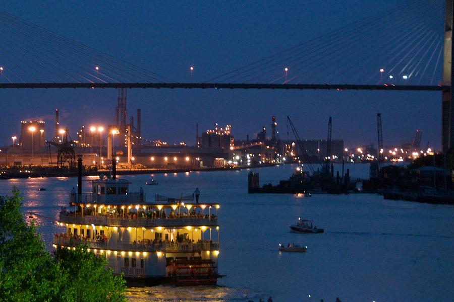 Savannah Photograph - Savannah Harbor At Night by Leslie Lovell