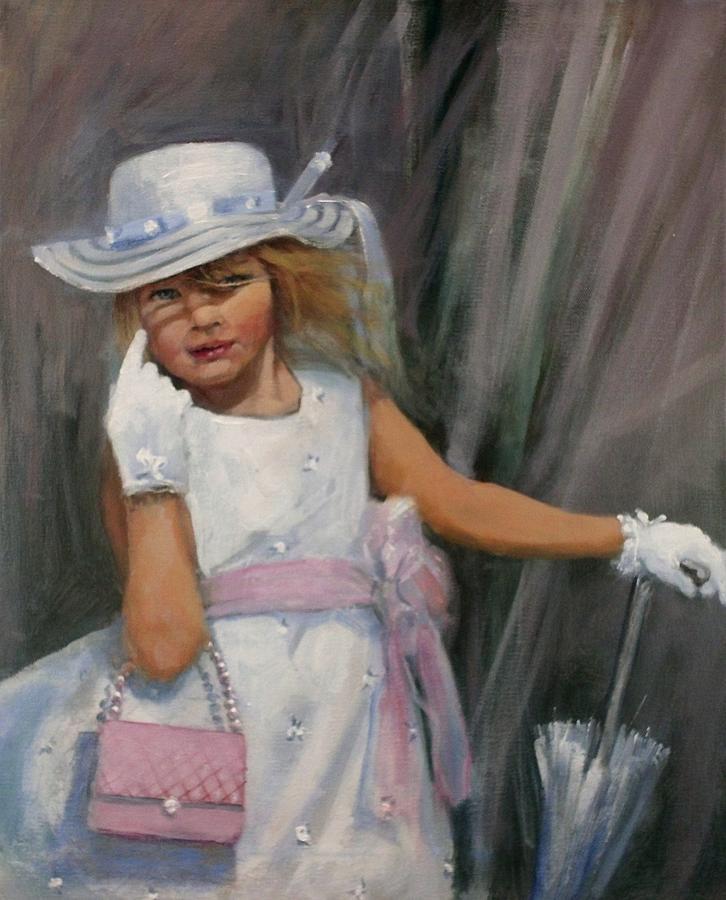 Girl With Umbrella Painting - Savannah by Tom Shropshire