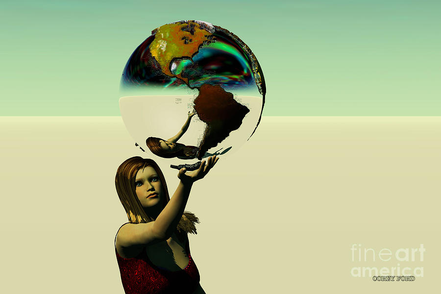 Woman Painting - Save The Earth by Corey Ford