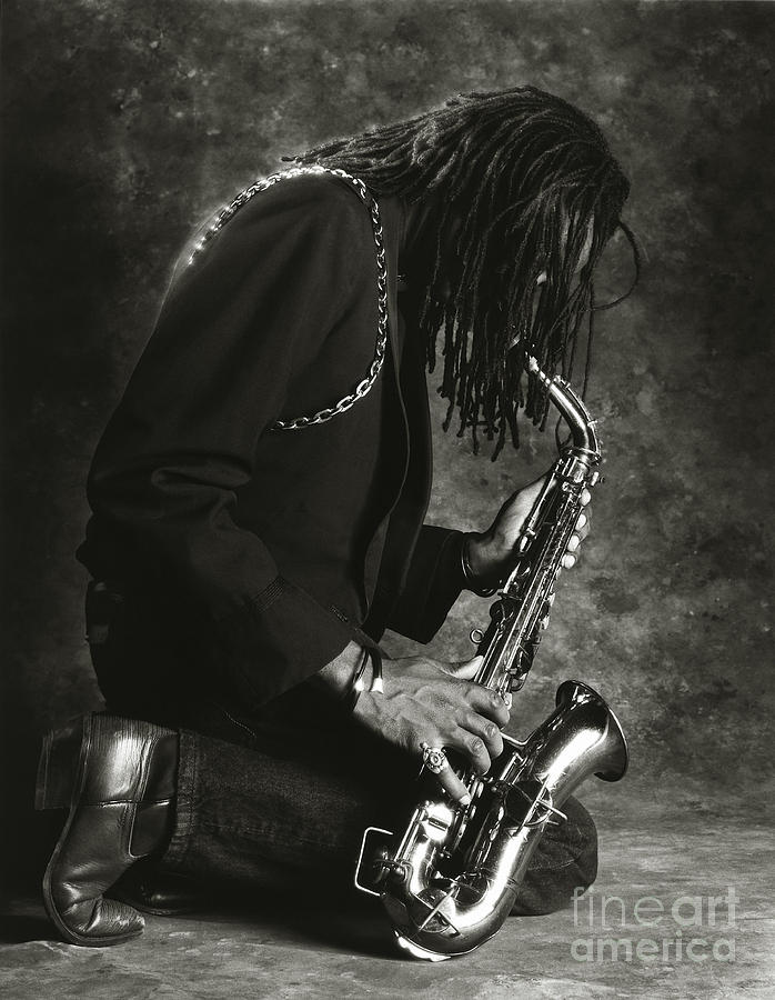 Music Photograph - Sax Player 1 by Tony Cordoza