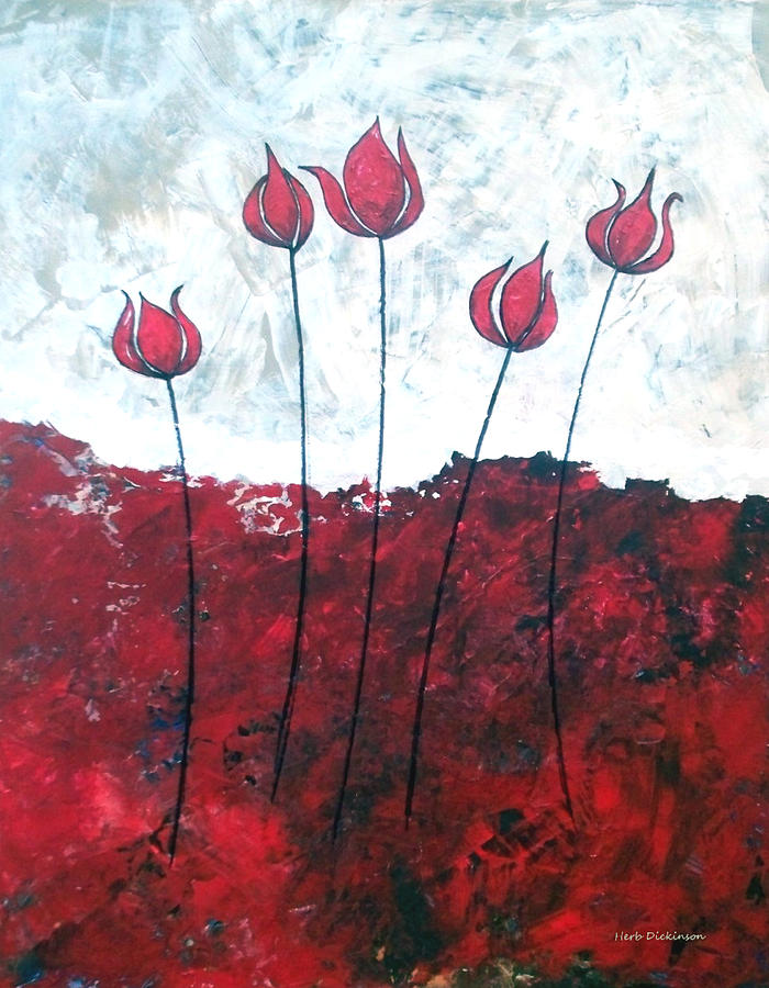 Abstract Painting - Scarlet Blooms by Herb Dickinson
