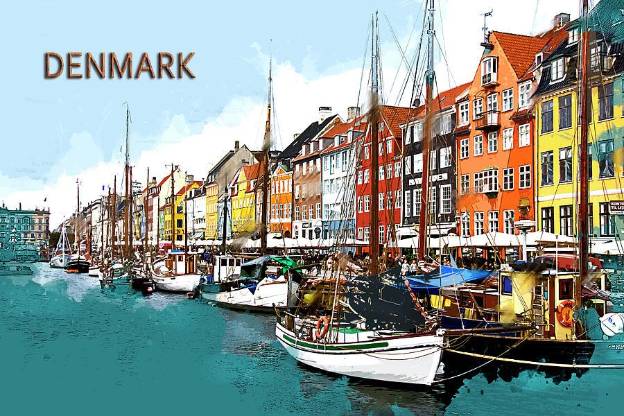 Scenic Harbor Area And Boats In Copenhagen Denmark Text ...