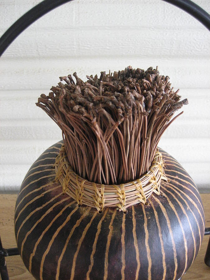 Gourd Sculpture - Scented Pine Needles by Selma Glunn
