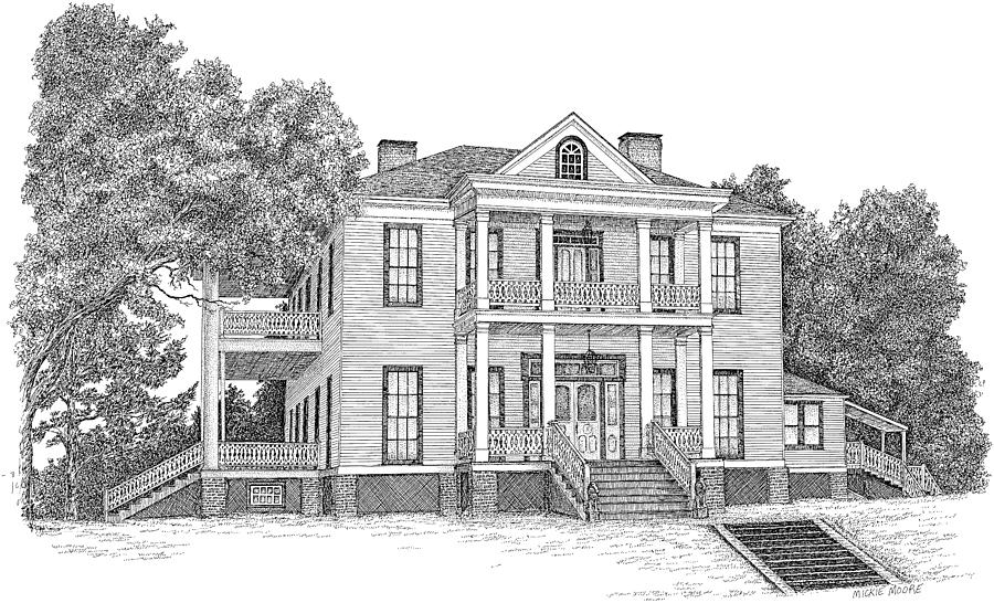 Architectural Drawing - Schluter House In Jefferson Texas by Mickie Moore
