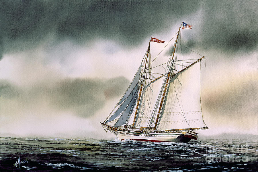 Sailing Vessel Fine Art Prints Painting - Schooner Heritage by James Williamson