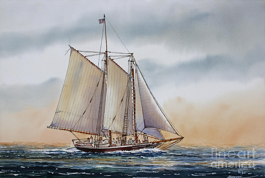 Fathers Day Sailing Vessel Framed Print Painting - Schooner Stephen Taber by James Williamson