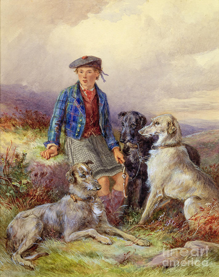 Dog; Tam O'shanter; Kilt; Tartan; Heath; Moor; Lad Painting - Scottish Boy With Wolfhounds In A Highland Landscape by James Jnr Hardy