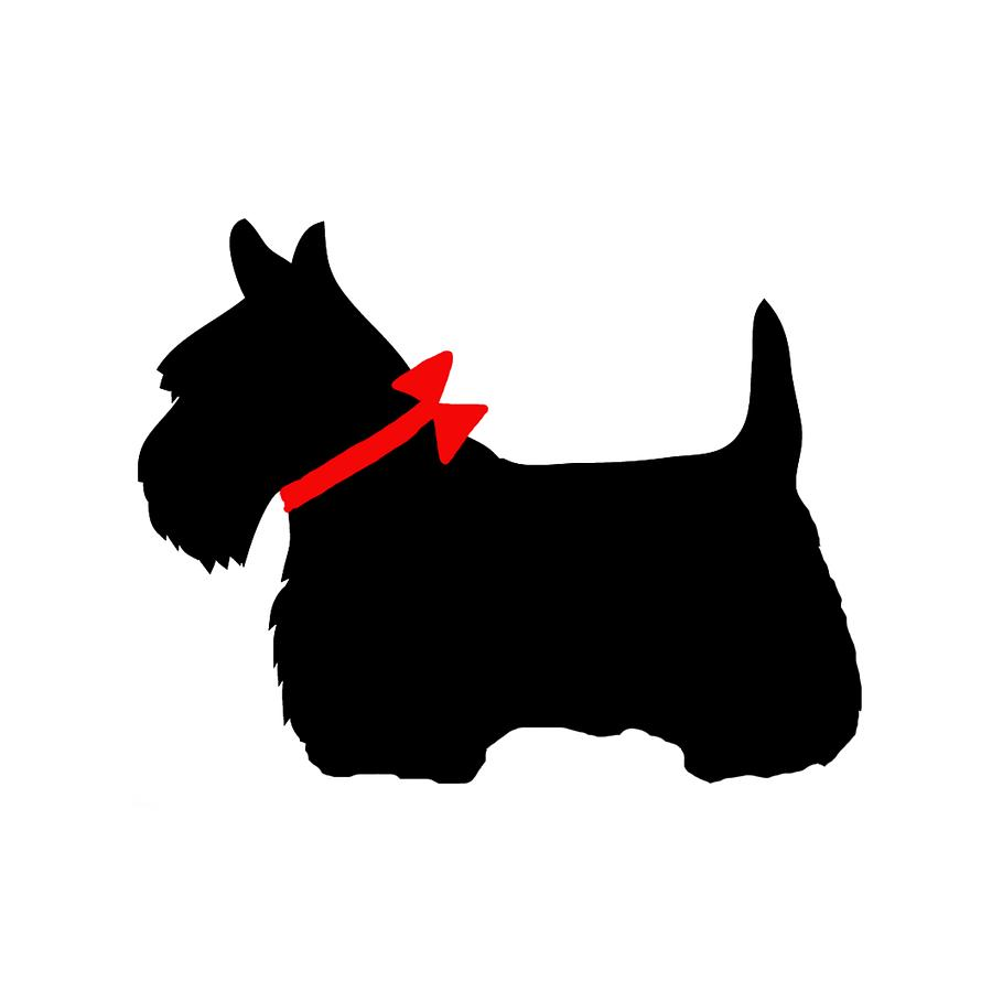 Scotty Dog With Red Bow Digital Art By Marianna Mills