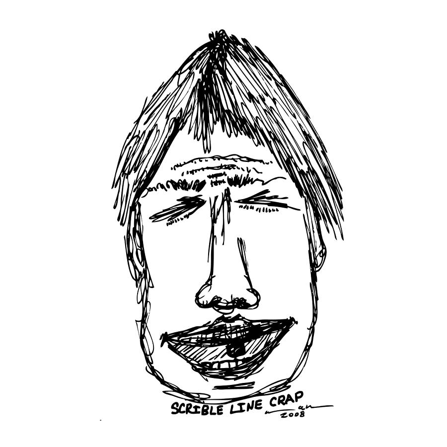 Drawing Drawing - Scribble Line Face by Karl Addison