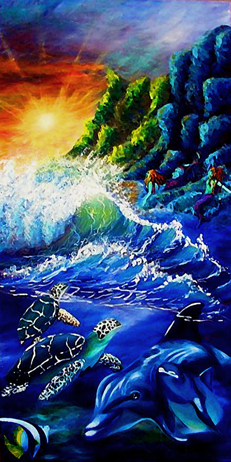 Sea life fantasy painting by elizabeth lisy figueroa for Sea life paintings artists