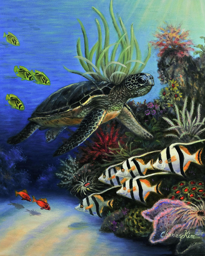 Sea turtle painting by charles kim for Turtle fish paint