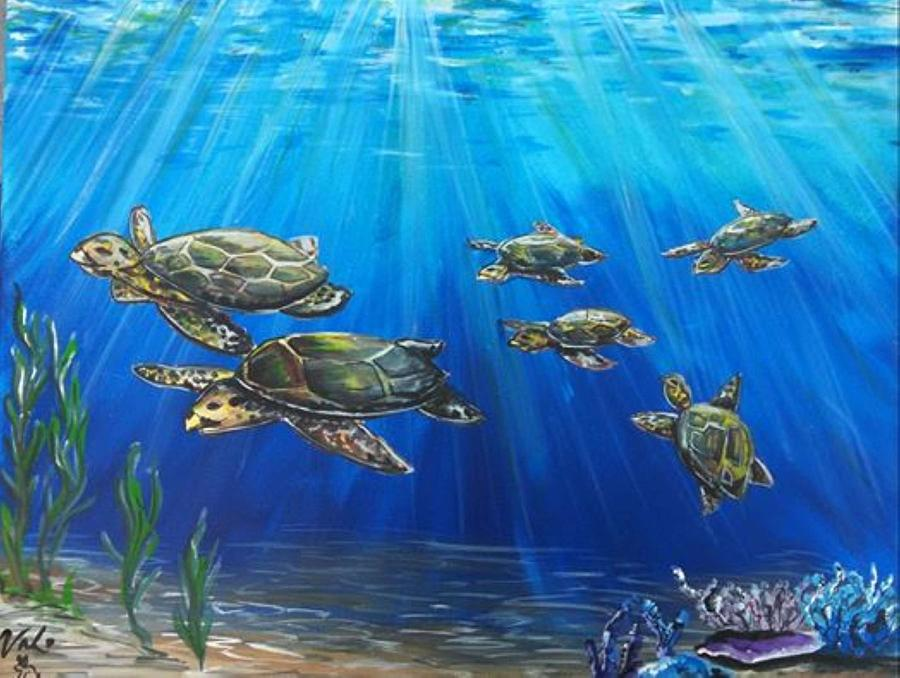 Sea Turtle Family Painting By Valerie Chapman