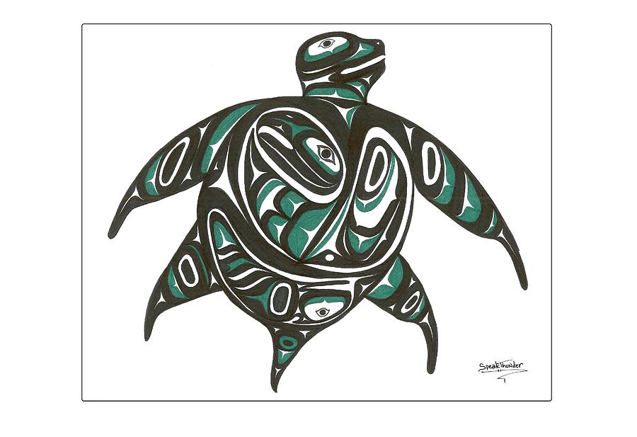 Sea Drawing - Sea Turtle Green by Speakthunder Berry