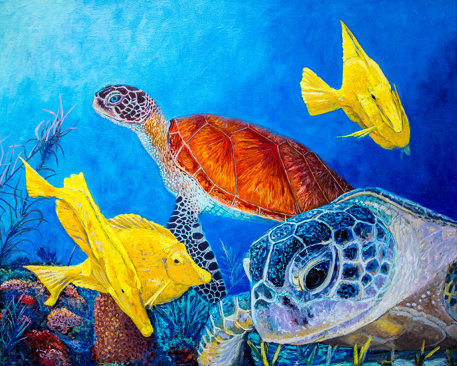 Sea Turtles Painting By Manuel Lopez