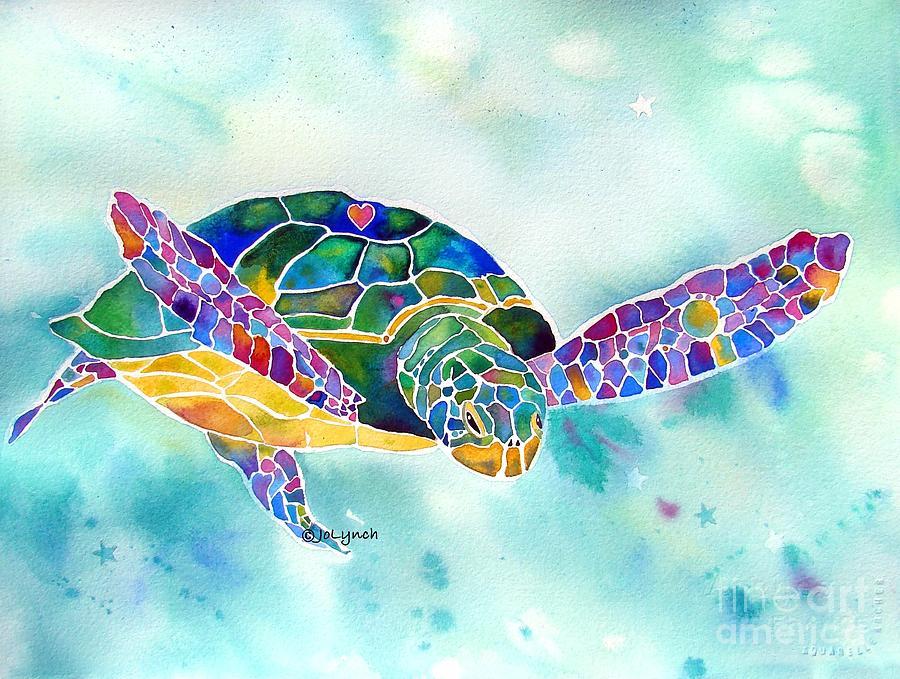 Sea Turtle Paintings Painting - Sea Weed Sea Turtle  by Jo Lynch