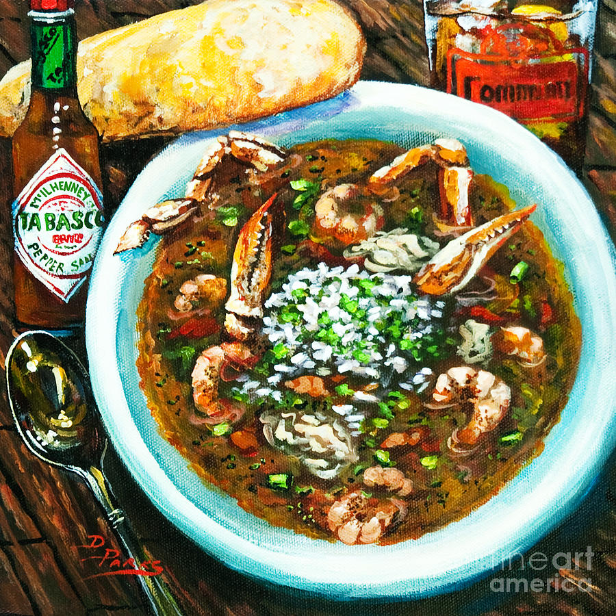 Seafood Art Painting - Seafood Gumbo by Dianne Parks